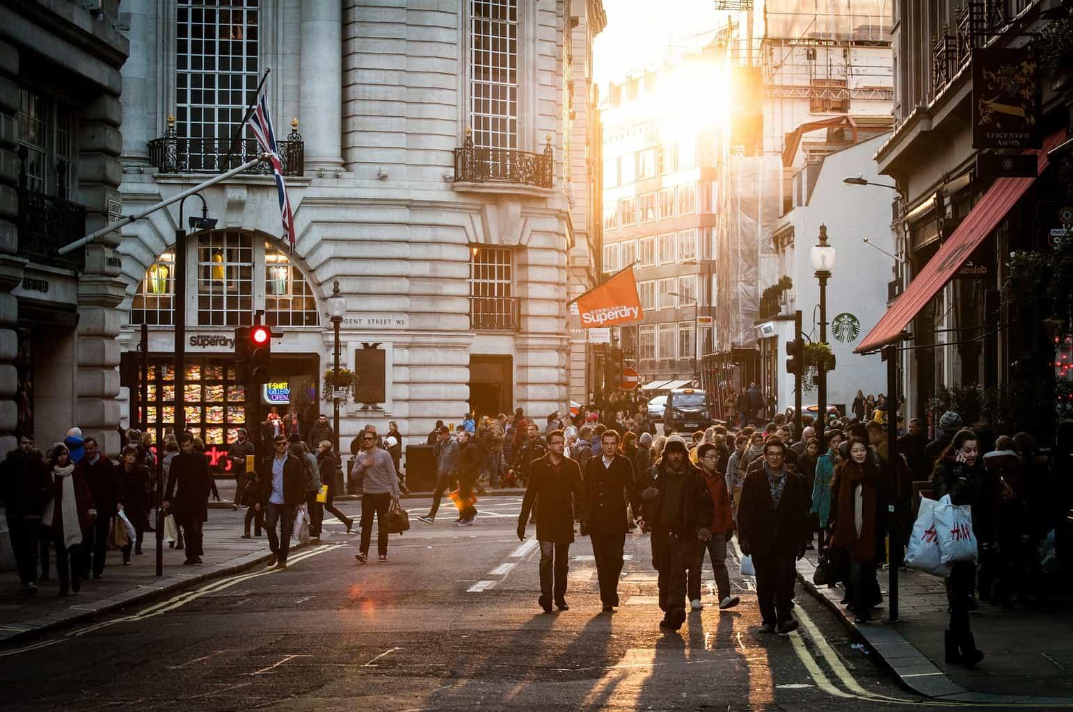 People walking down a street in London