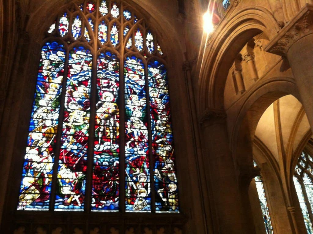Stained glass window inside Oxford building