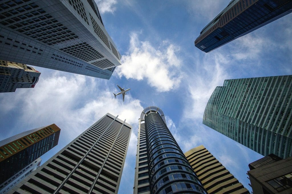 plane in sky surrounded by skyscrapers nervous flyer