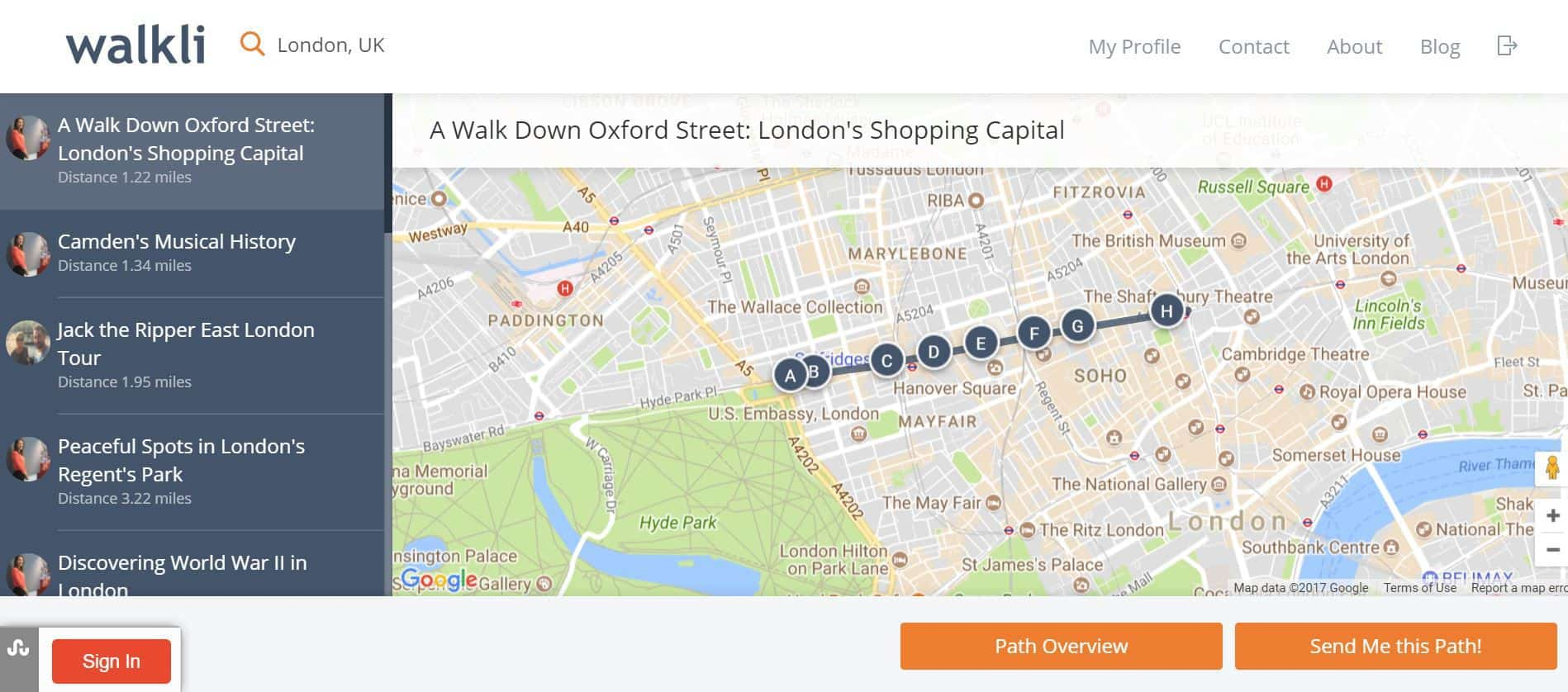Walkli Review Map