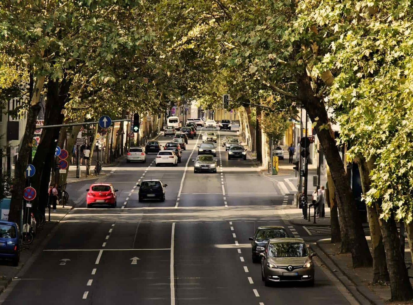 A tree lined street with cars in a city