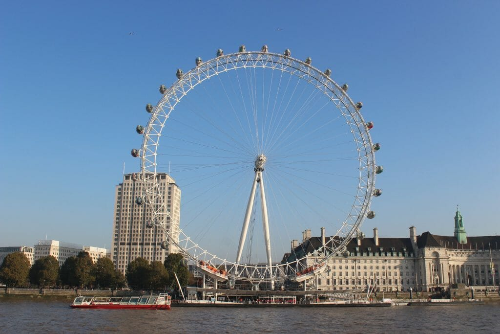 The London Eye with blue sky and a boat passing by