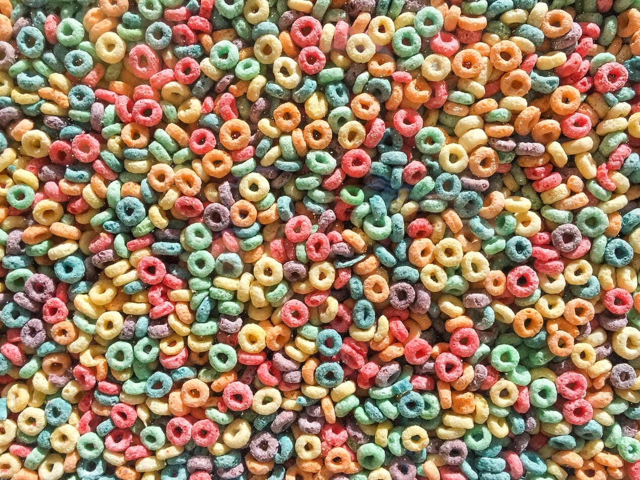 Colorful cereal hoops