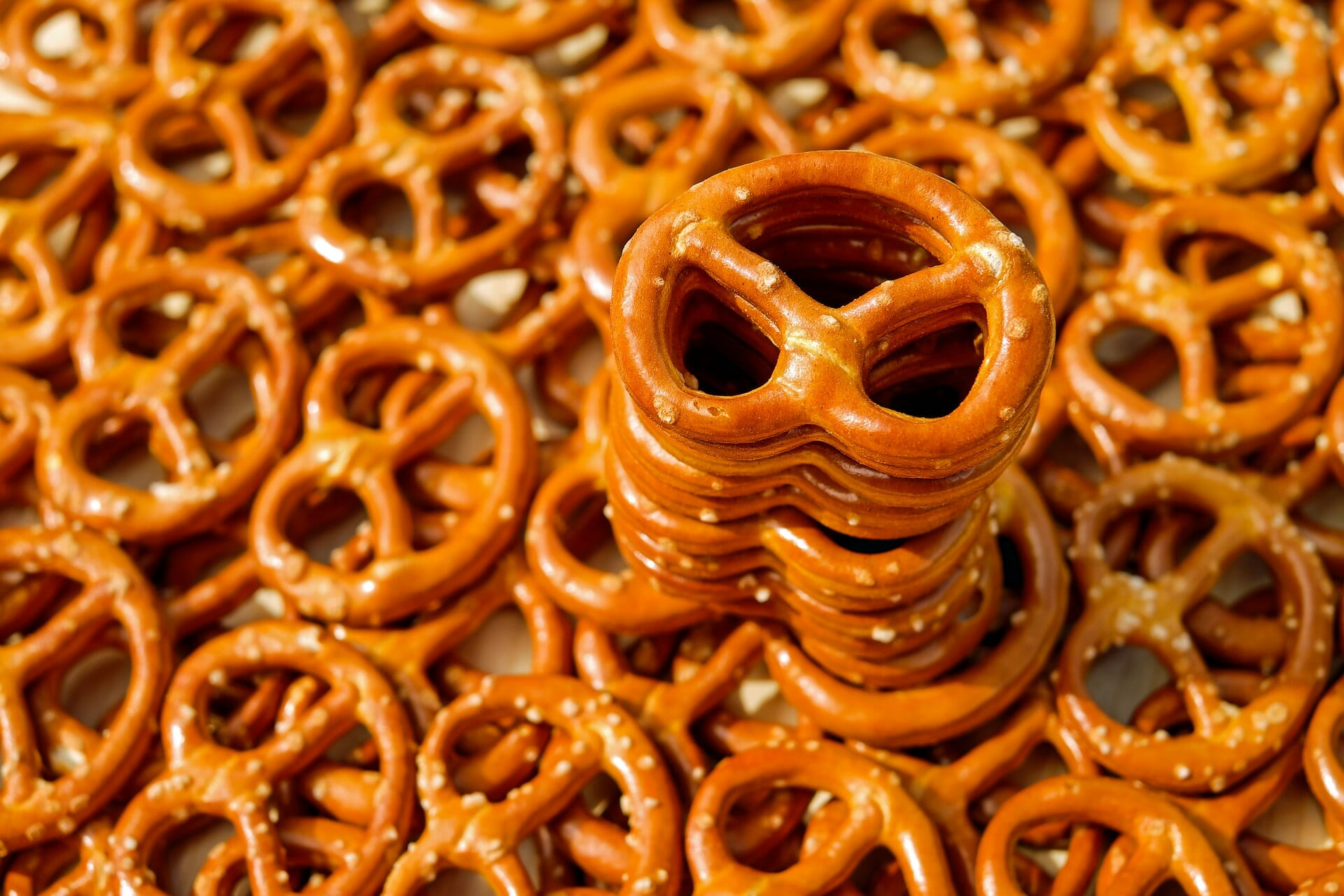 A stack of pretzels