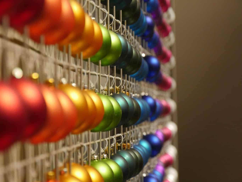 Multi-coloured Christmas decorations