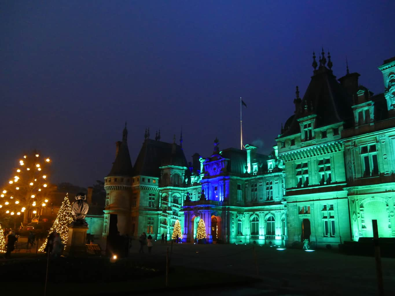 Waddesdon Manor lit up in green at Christmas
