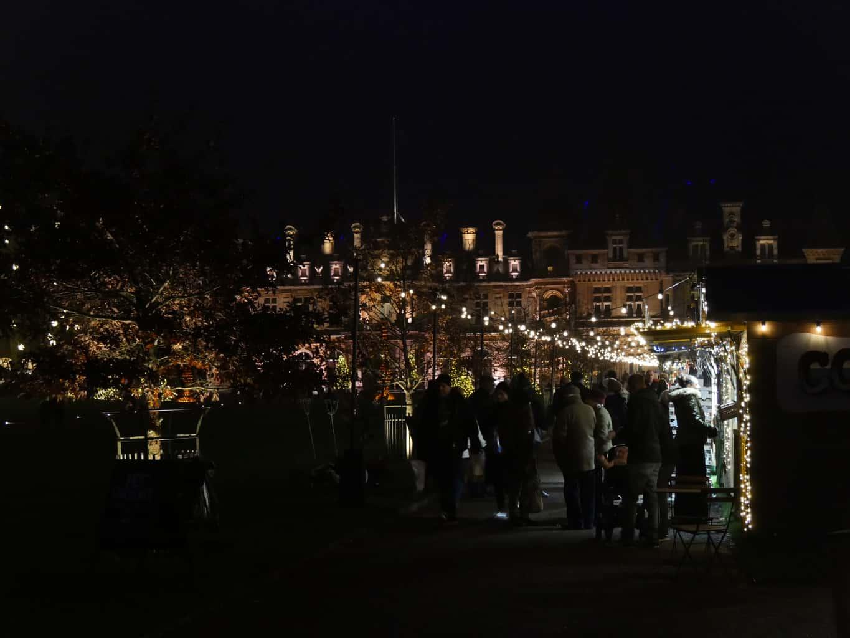 The Christmas market at Waddesdon Manor at night