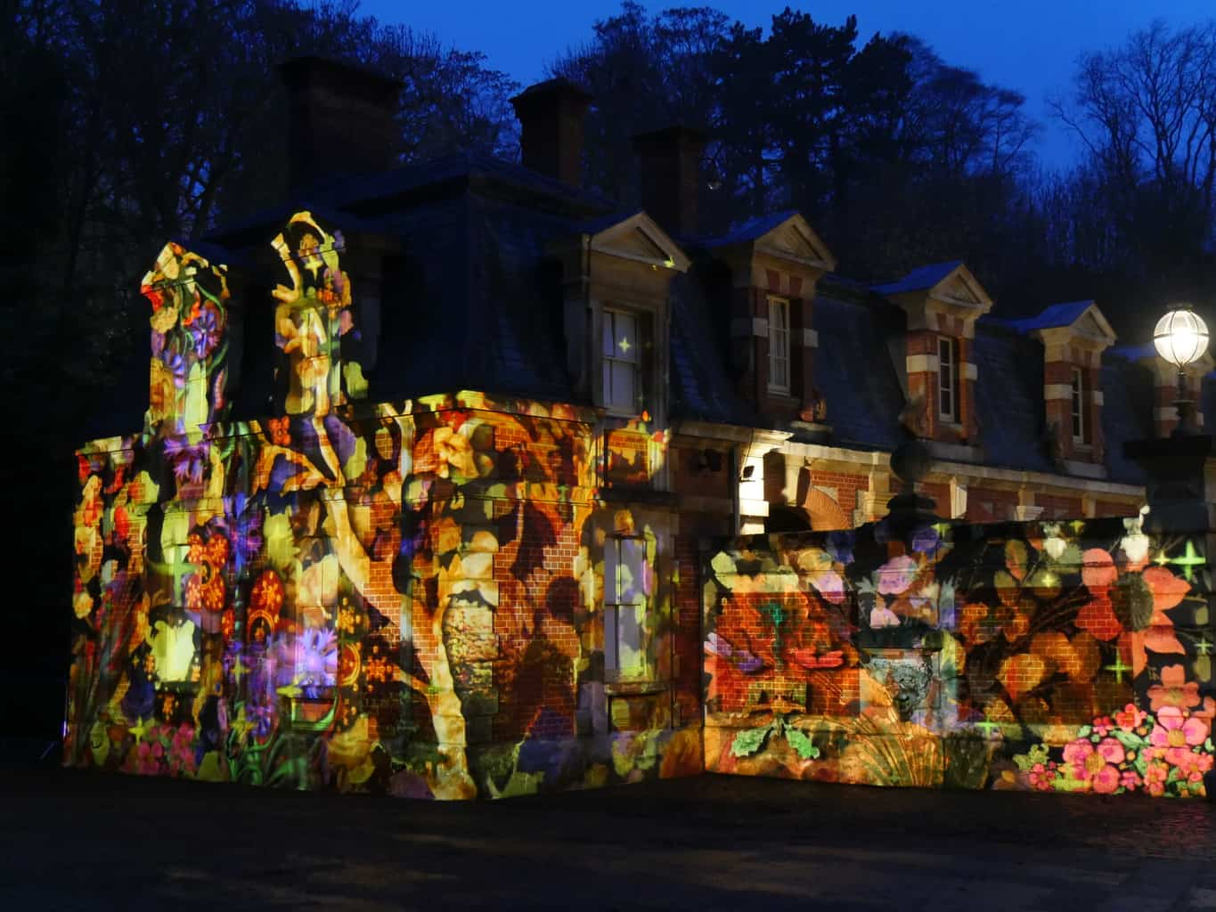 A projection show on a building at Waddesdon Manor Christmas