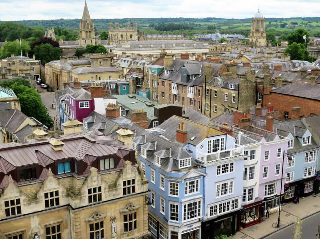 Oxford from above with colourful buildings in front