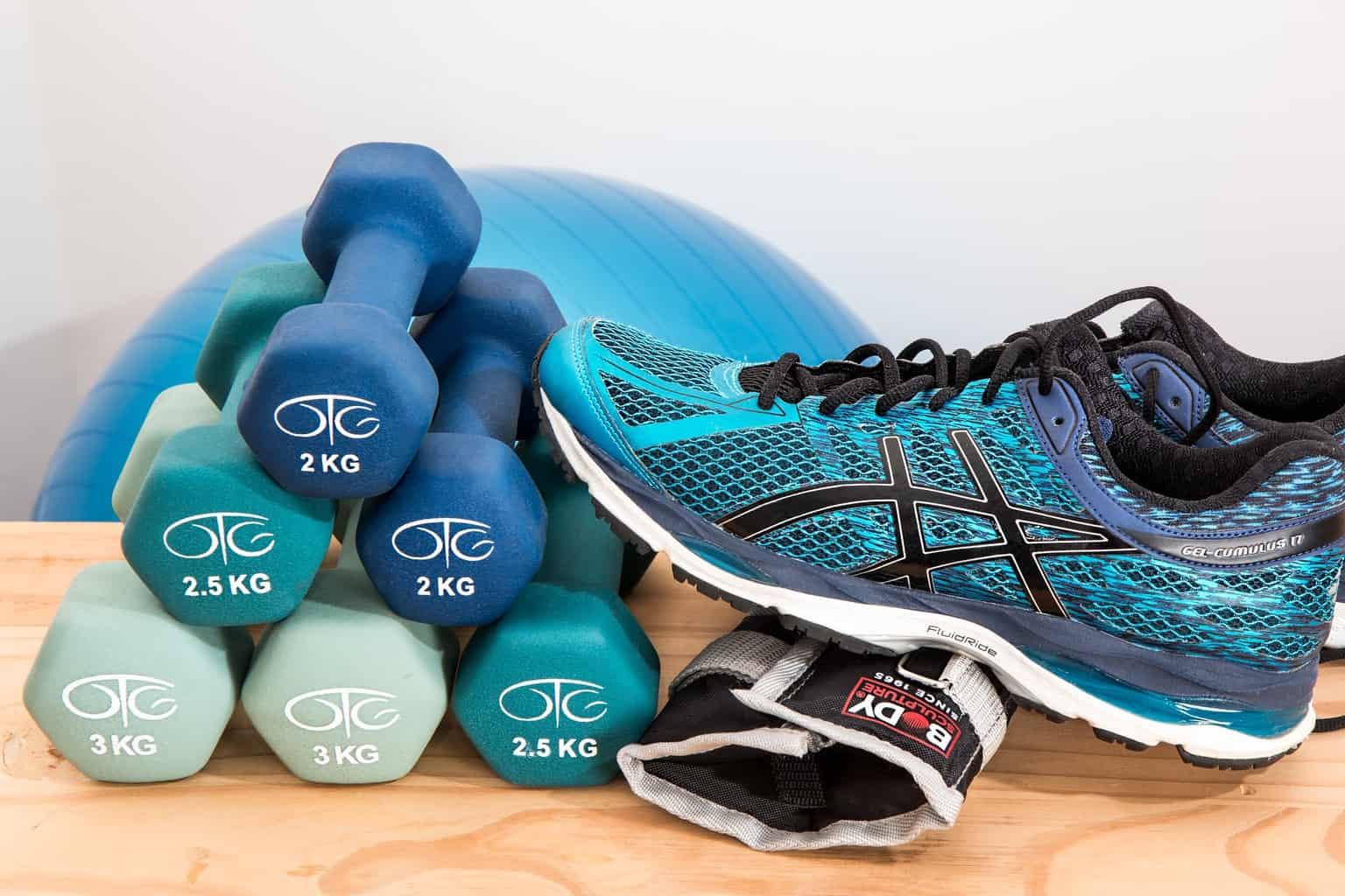 Weights and sports shoes