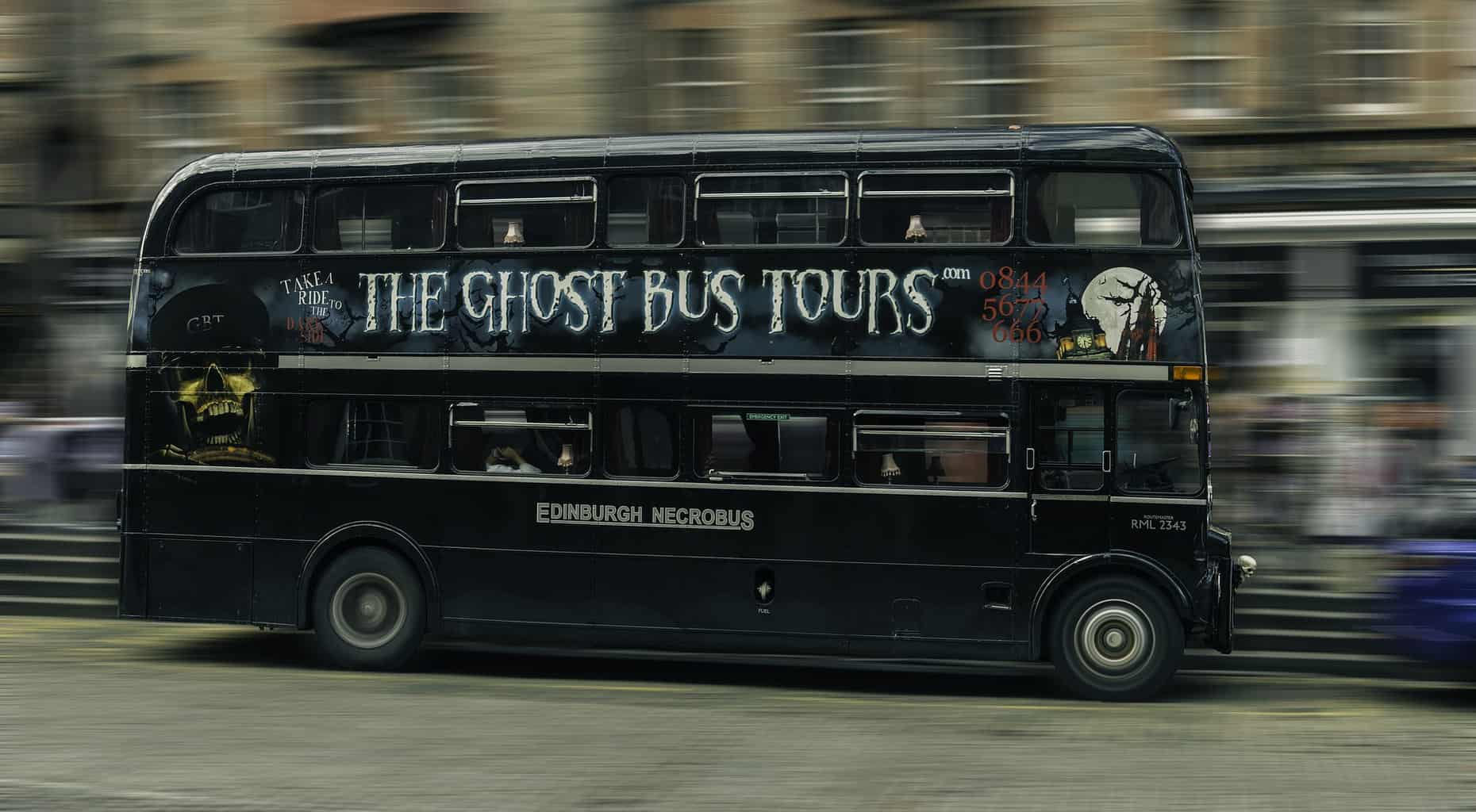A black bus for ghost tours in Edinburgh