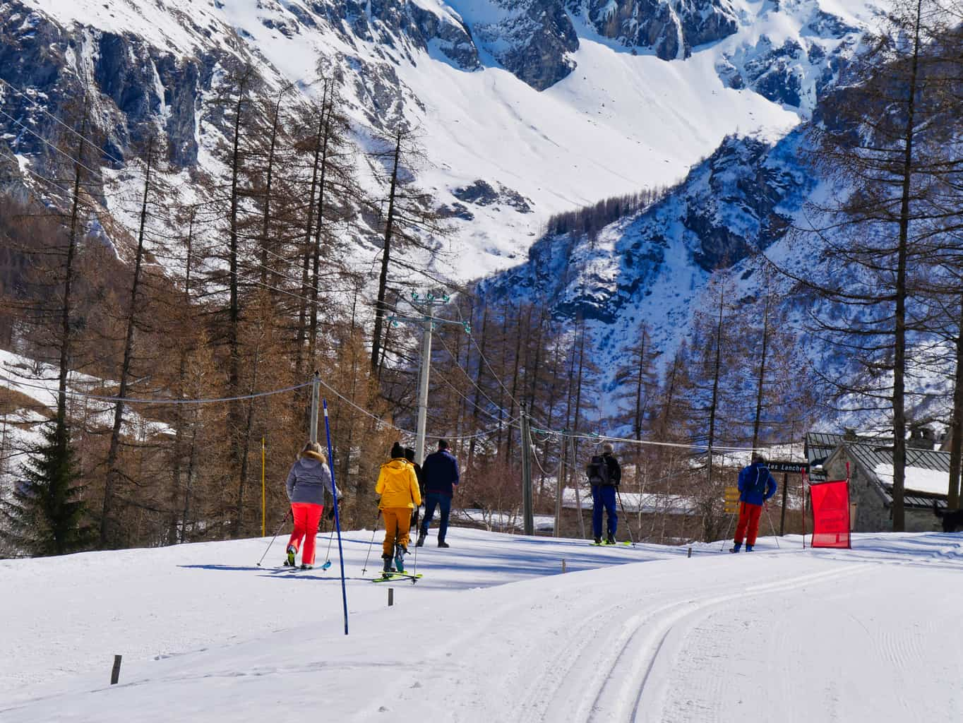 Nordic Skiers and walkers in Nordic Ski site in Les Arcs