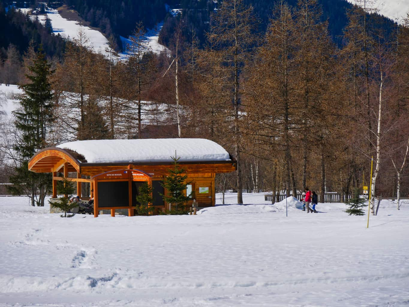 Wooden picnic hut covered in snow