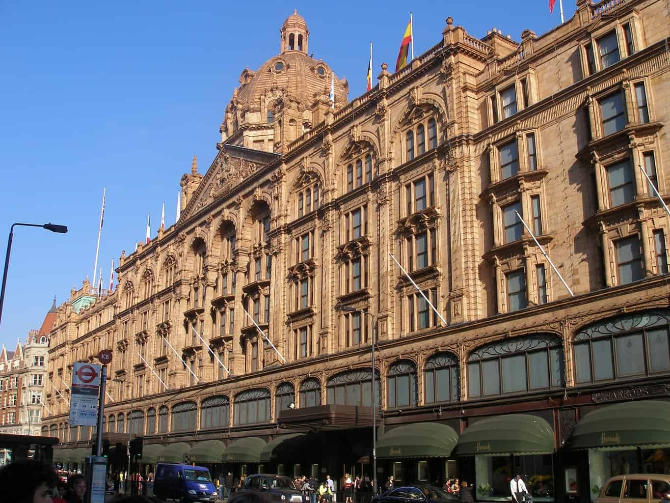 Harrods in London with blue sky