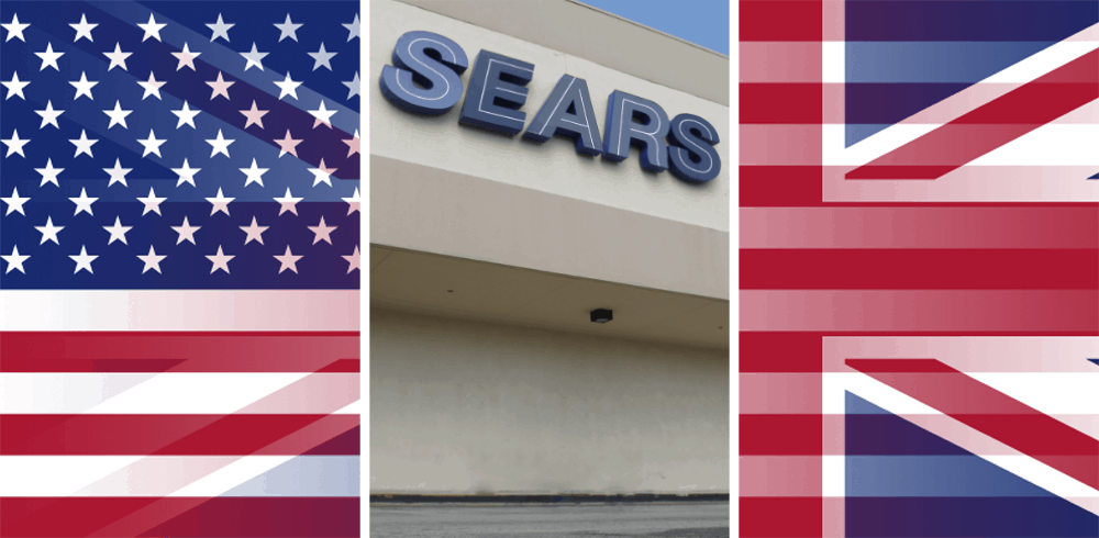 Sears store With US and UK flag