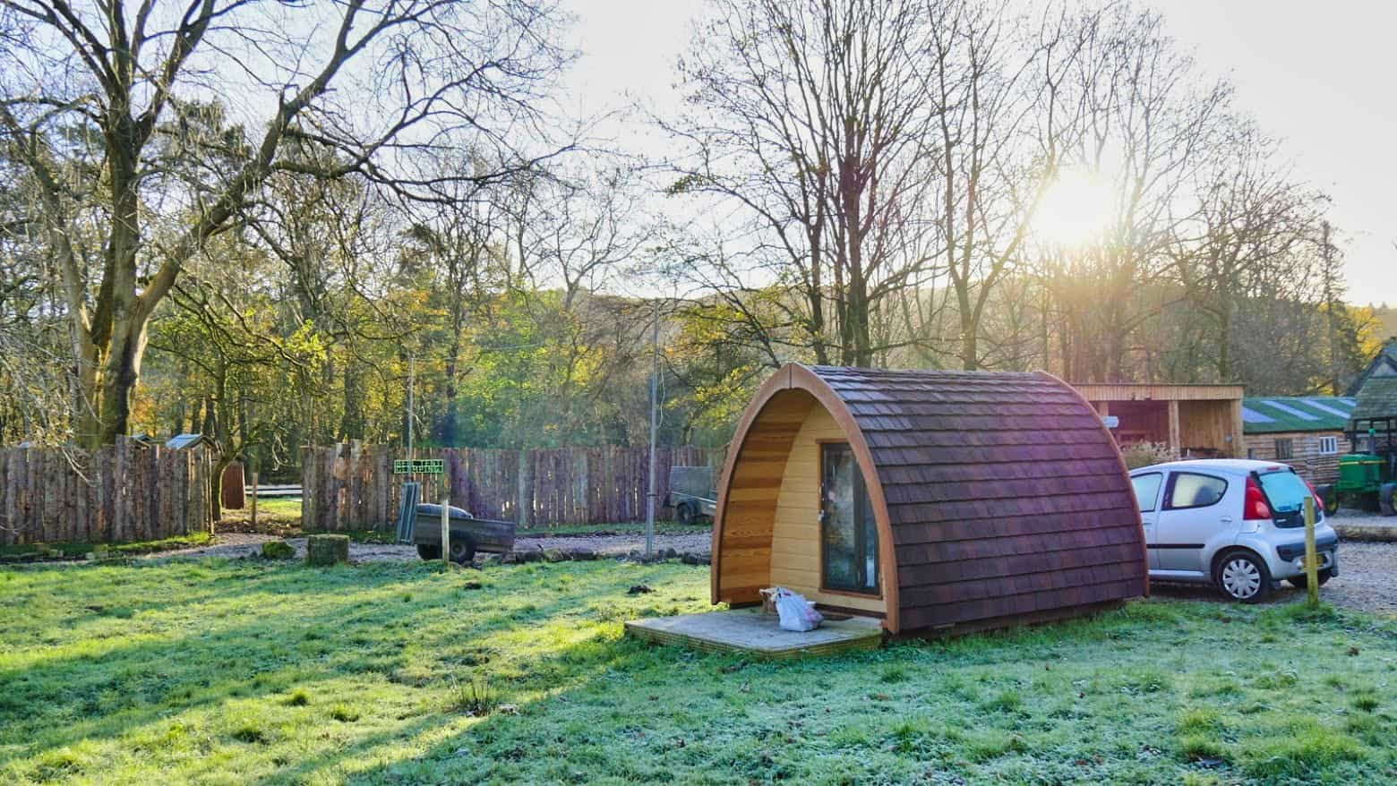 A glamping hut early in the morning in the Lake District