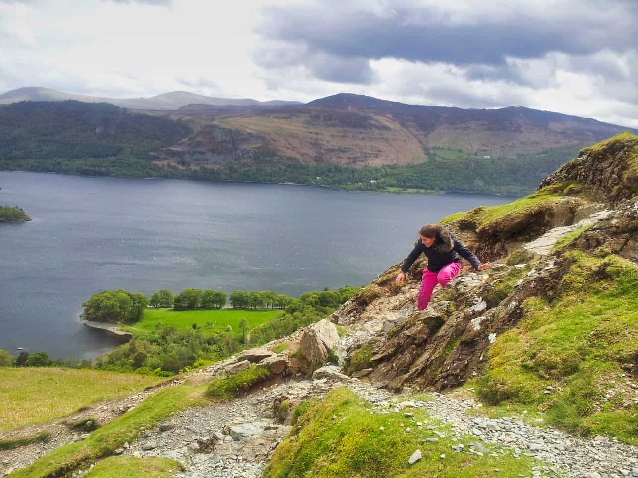 Kalyn climbing down mountain in Lake District