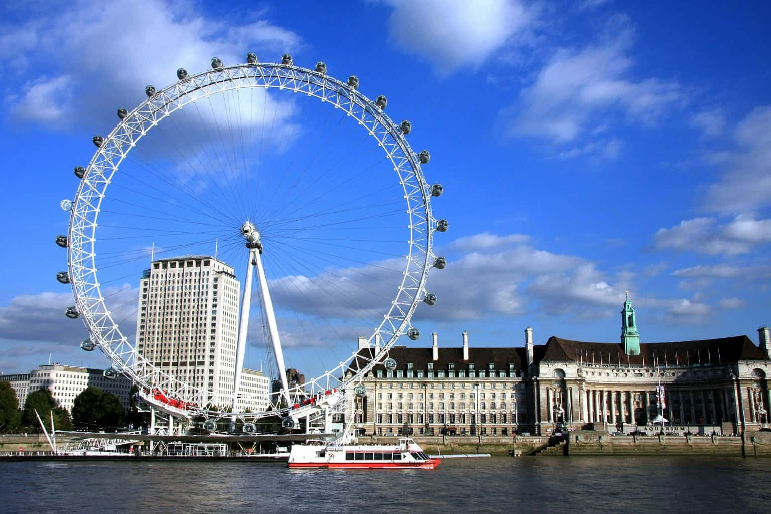 The London Eye with the River Thames in the foreground and blue sky in the background