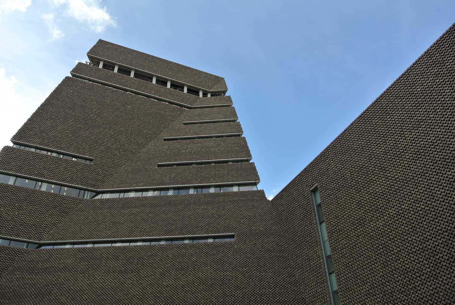 Looking up at the Tate Modern in London from the outside