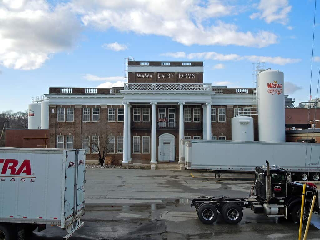 Wawa Dairy Farms building with trucks outside