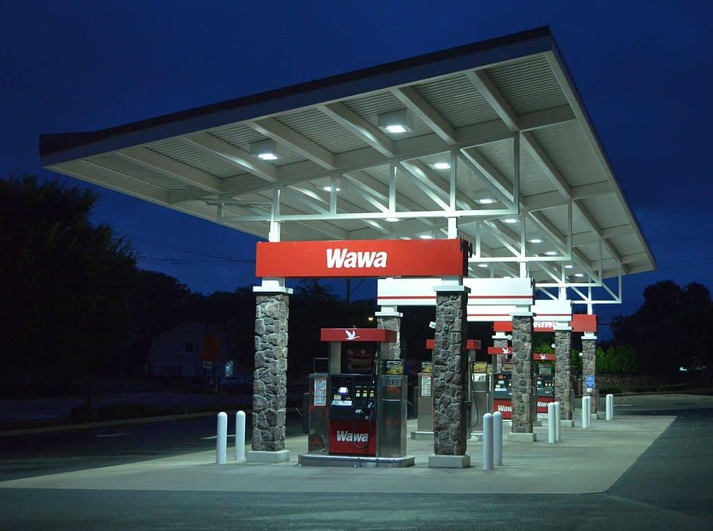 A Wawa gas station at night