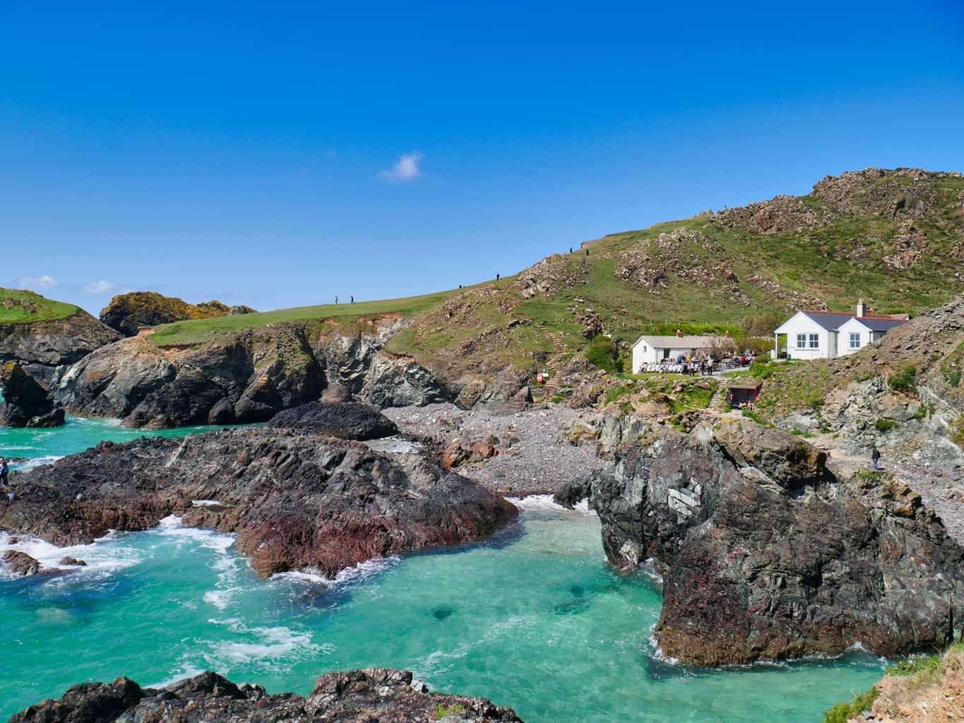 Kynance Cove with incredible blue water and a view of the white cafe building