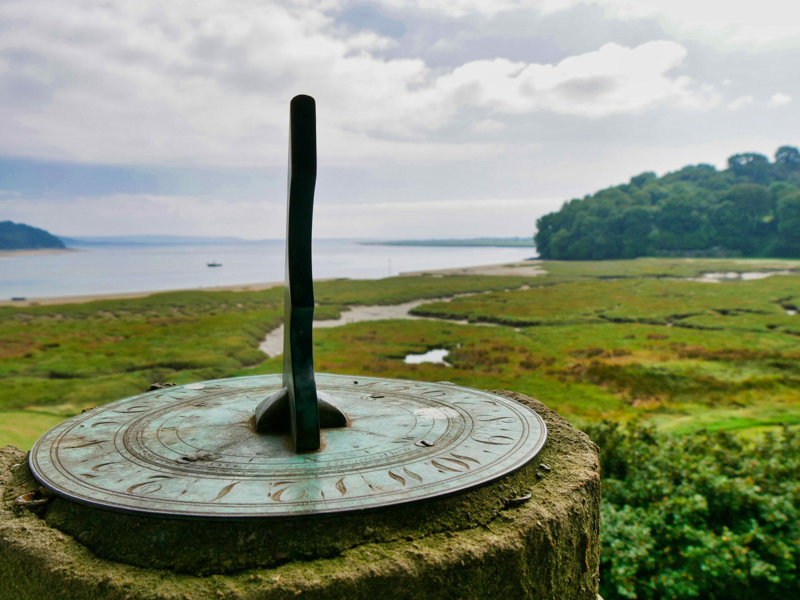 Sundial at Laugharne castle in Wales