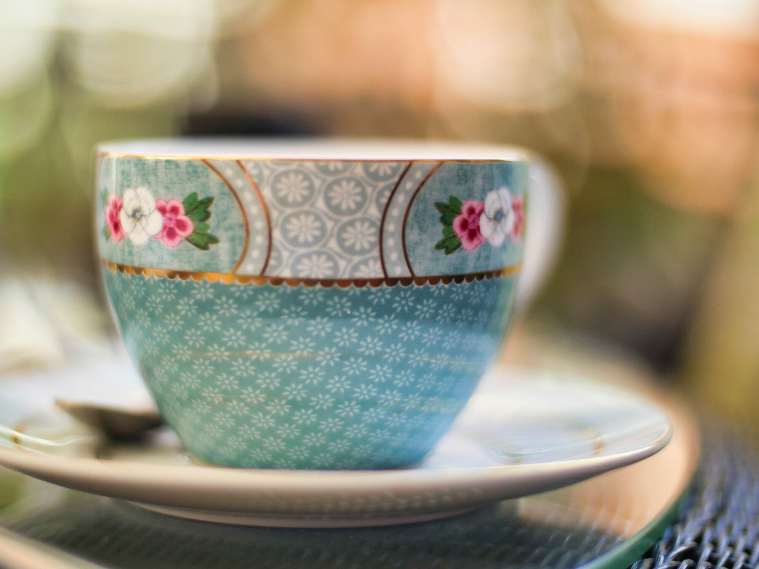 Blue floral tea cup