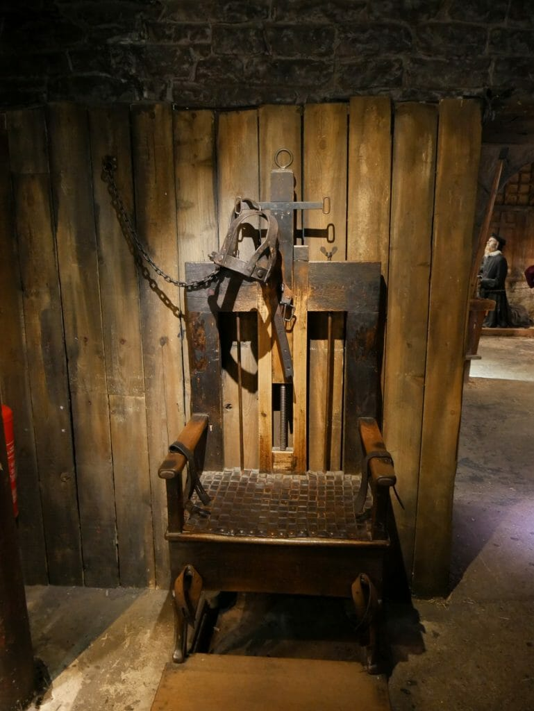 A torture chair at The Clink Prison Museum in London Bridge