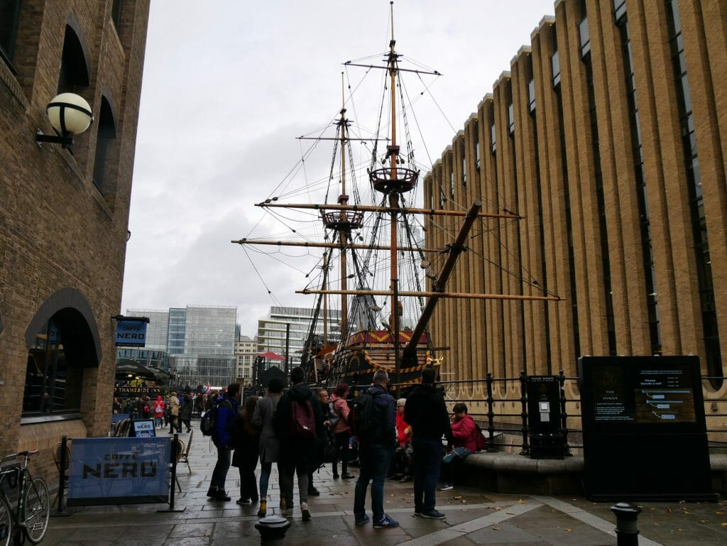 The Golden Hinde London Bridge between two buildings