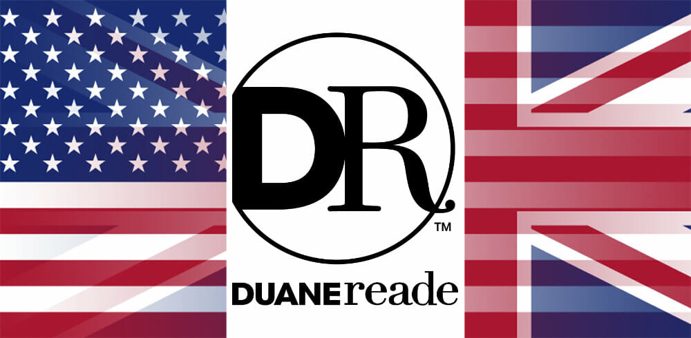 Duane Reade logo with UK flag and USA flag