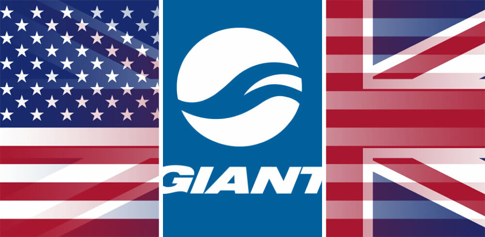 Giant logo with UK and USA flags