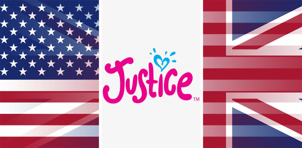 Justice logo with UK and USA flags