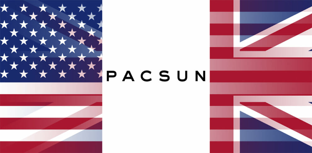 PacSun logo with USA and UK flags