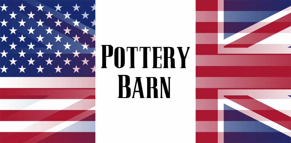 Pottery Barn logo with UK and USA flag