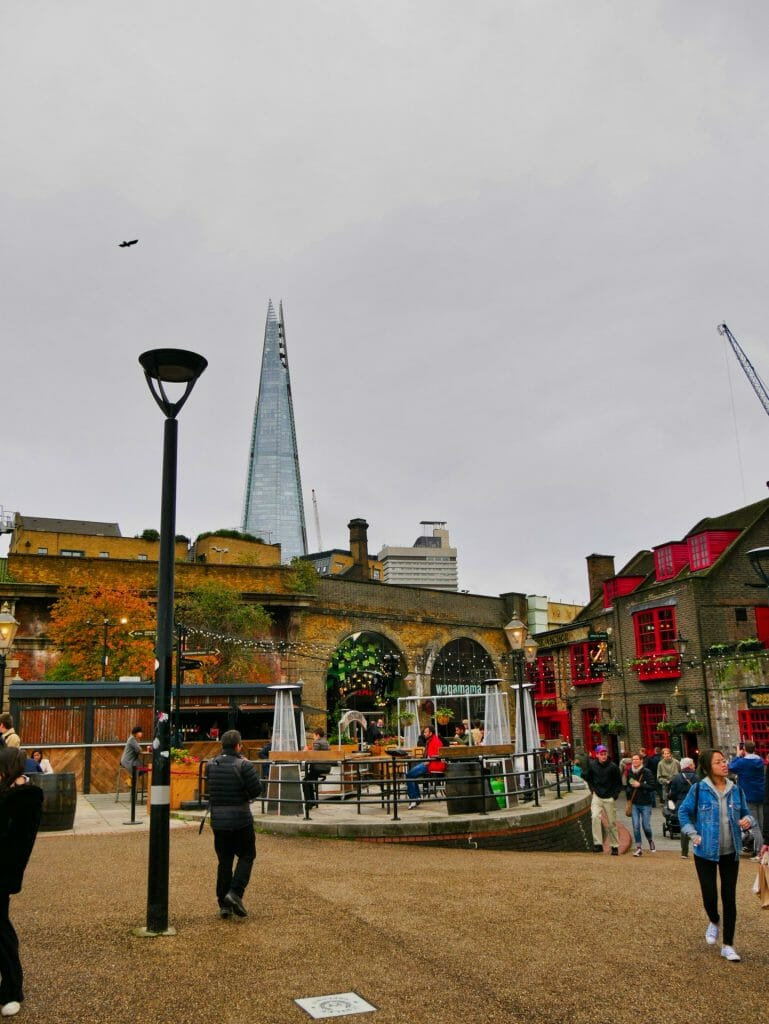 Shops at London Bridge with The Shard in the background