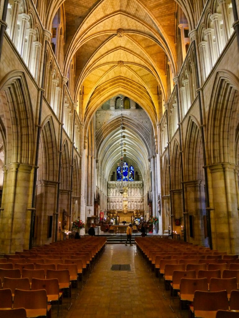 Inside Southwark Cathedral with empty pews