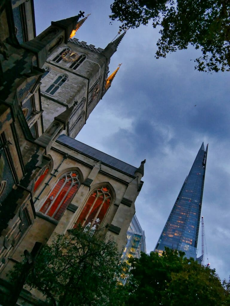 Southwark Cathedral London and The Shard at Night