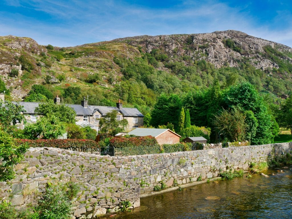 Houses next to a river in Beddgelert, Wales