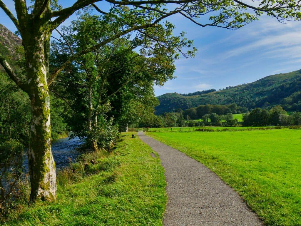 A path along a river in Beddgelert, Wales