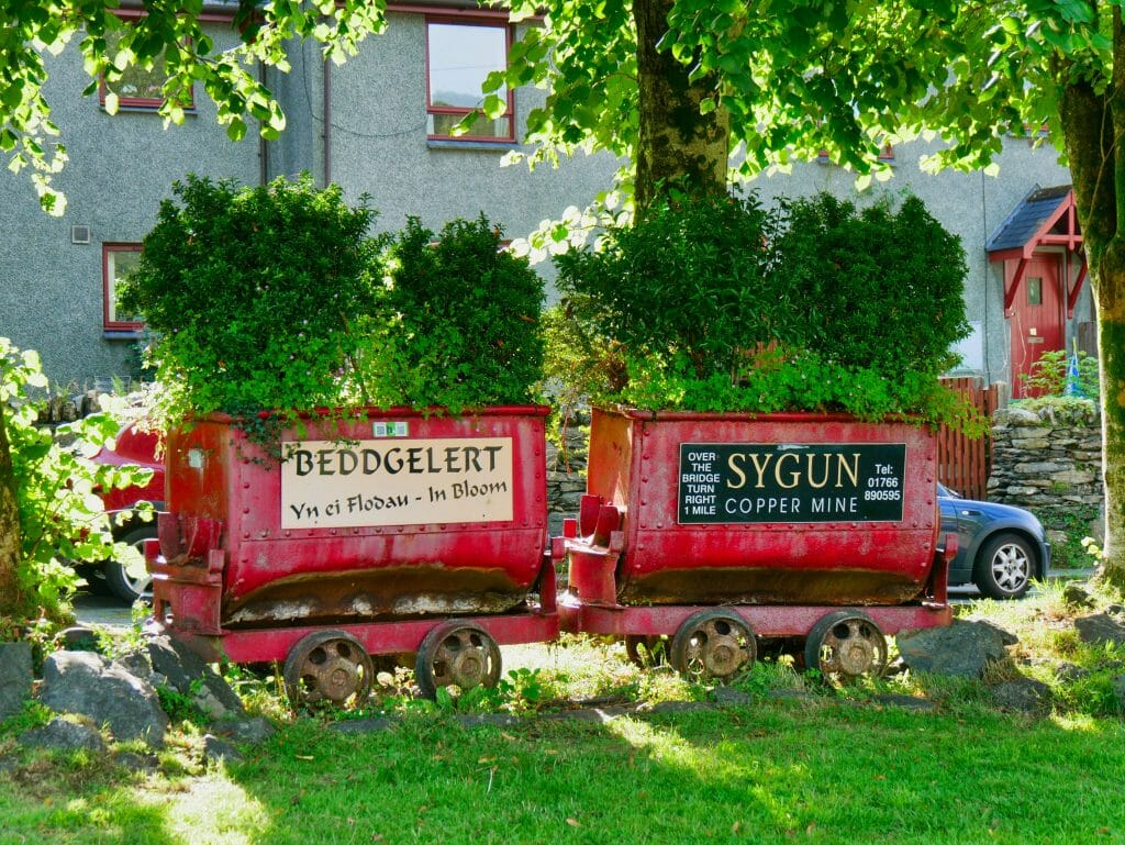 A Beddgelert sign made on a miniature train