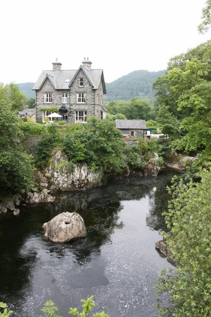 House next to the river in Betws-y-Coed Wales