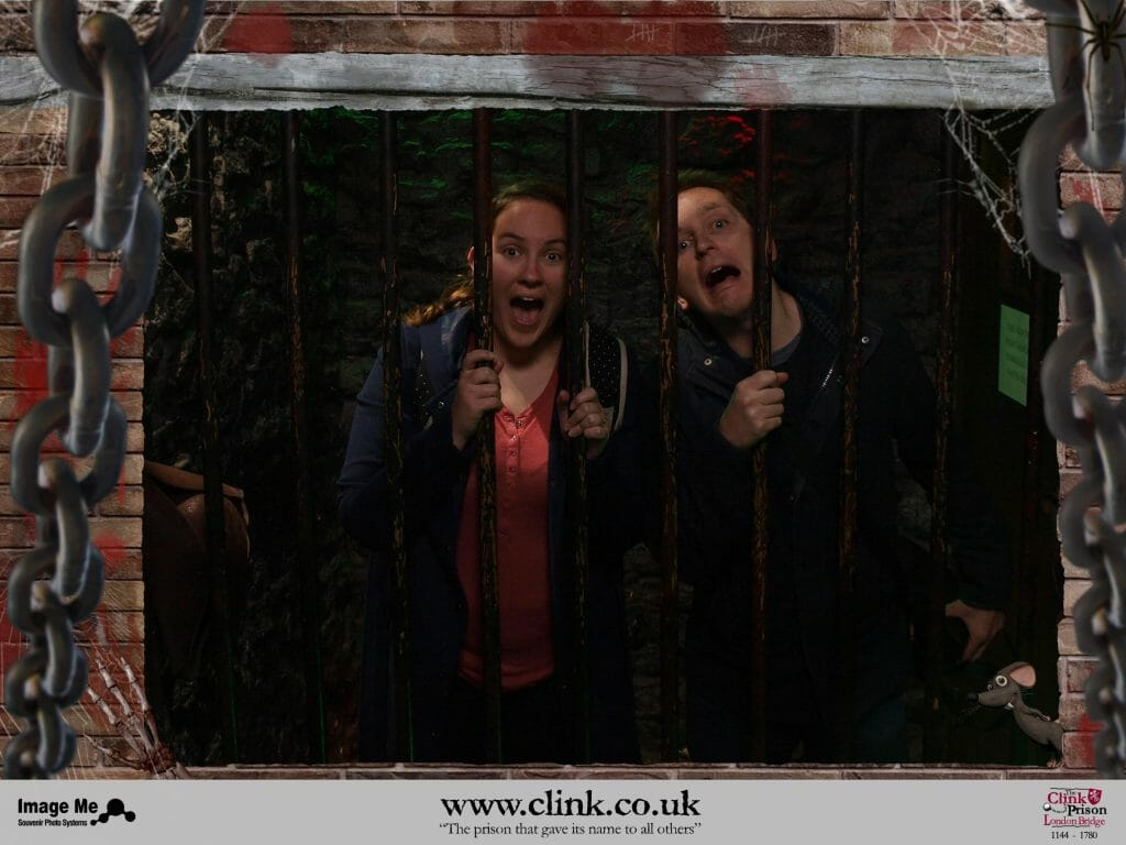 Photo of Kalyn and Guy at the Clink Prison Museum