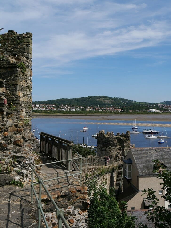 A view over the water from the town wall in Conwy
