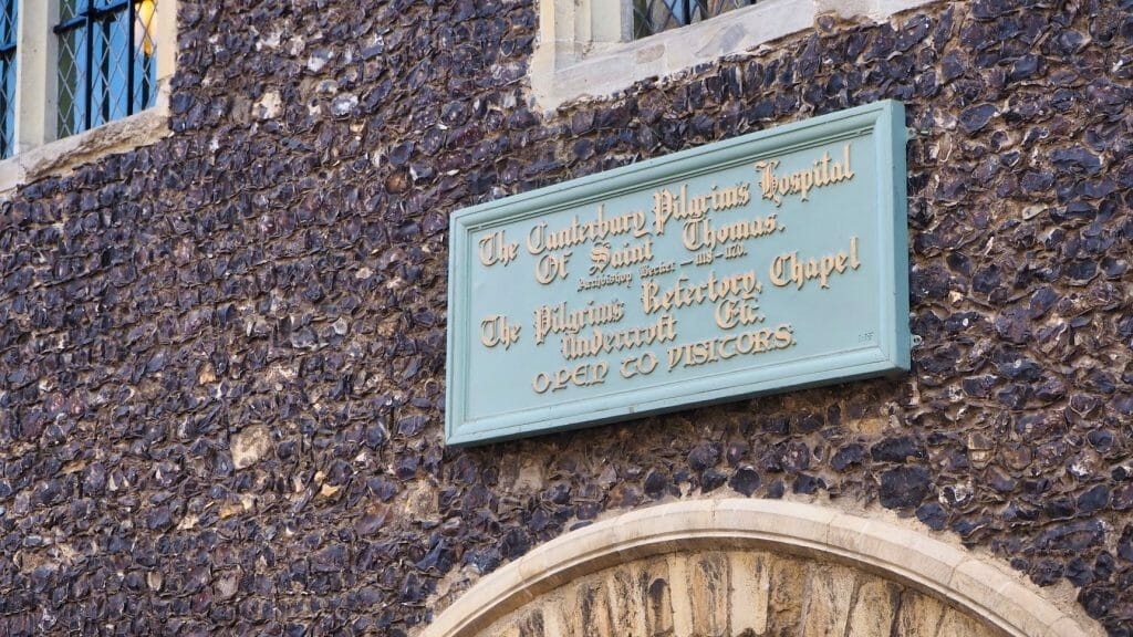 A sign for the St Thomas Pilgrims Hospital in Canterbury