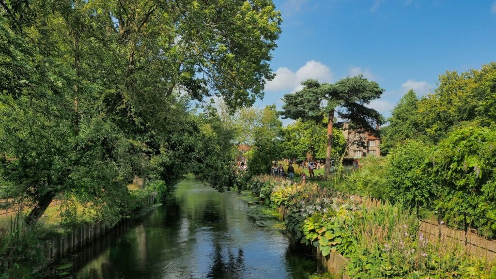 A river next to gardens with green trees overhanging in Canterbury