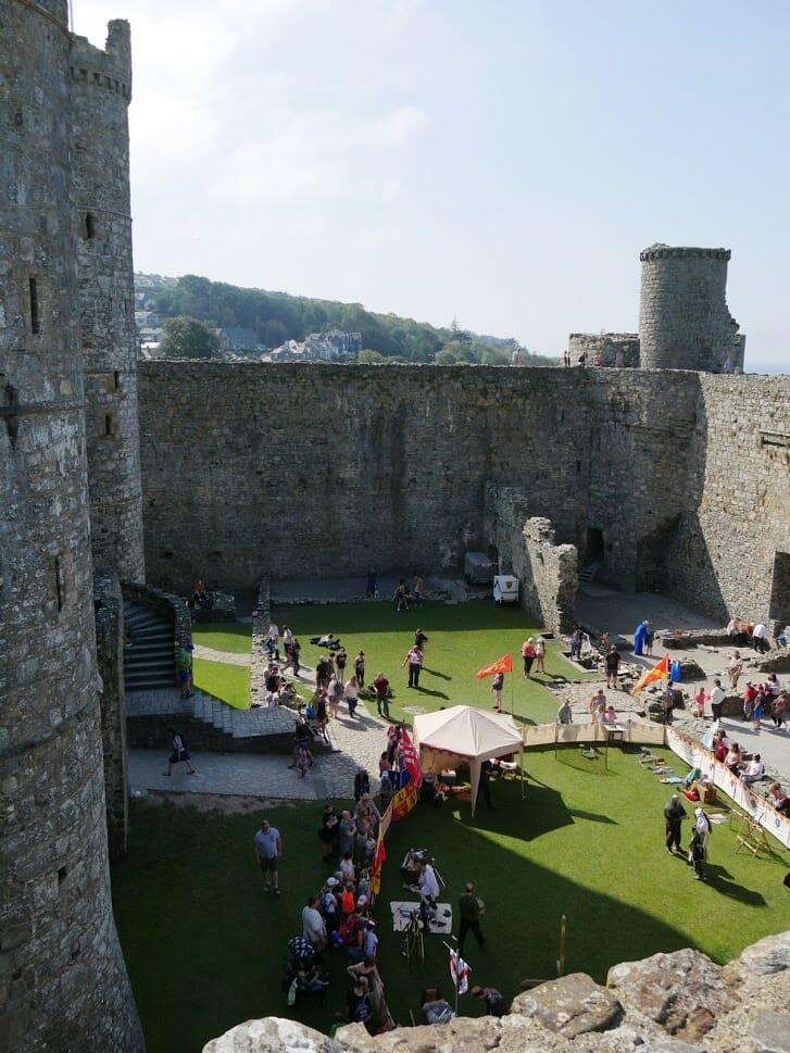 People doing activities inside Harlech Castle