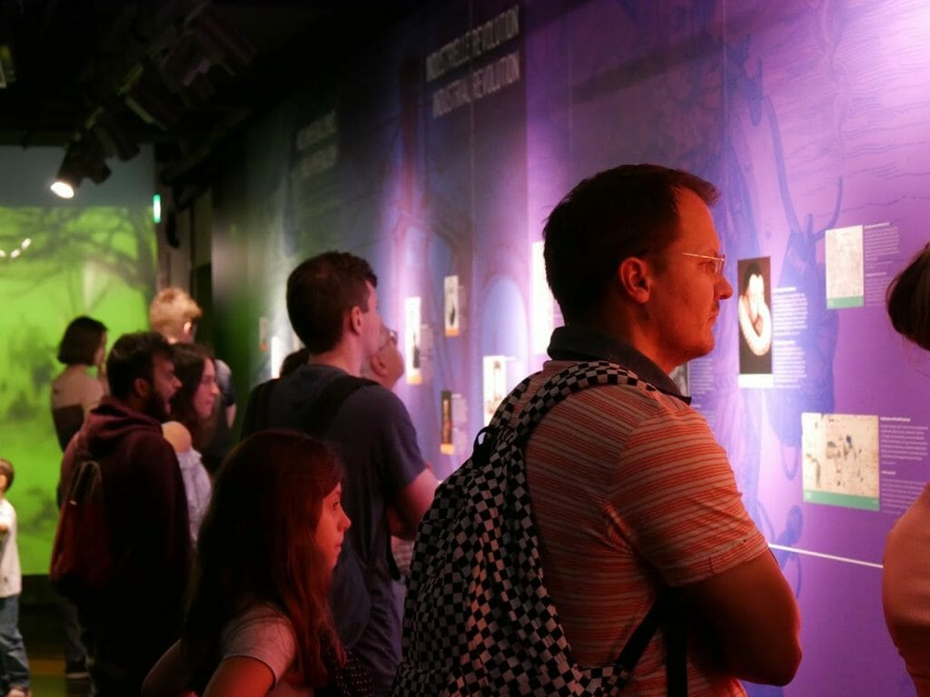 People looking at information walls at the German Spy Museum, Berlin