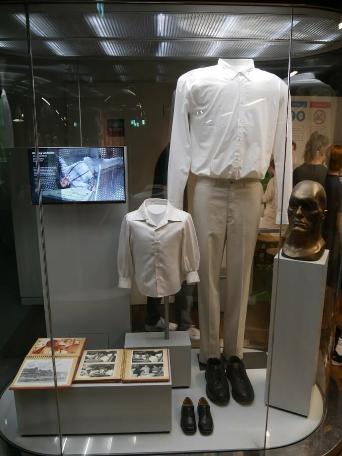 A display housing Richard Kiel's Jaws costume from the James Bond movies.