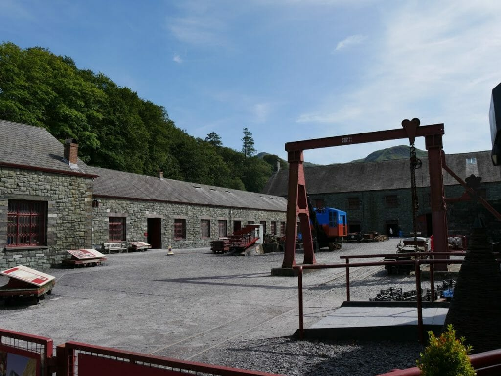 Inside the courtyard of Slate Mine Museum in Llanberis, Wales, with tools around